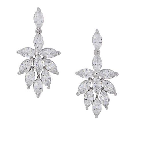crystal bridal earrings, vintage style wedding earrings CZ